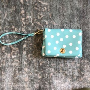 charming Charlie Wristlet Blue and White Dots